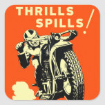Retro Vintage Motorcycles Races Thrills Spills Square Stickers