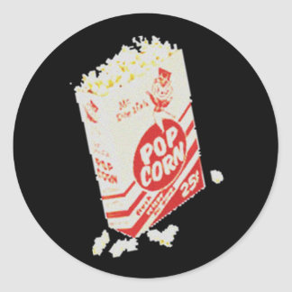 Retro Vintage Movie Theater Popcorn Classic Round Sticker