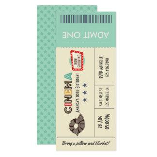 Retro Vintage Movie Ticket Birthday Party Invite