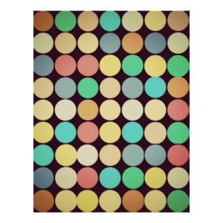 Retro Vintage Multicolored Circles Pattern Flyer Design
