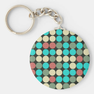 Retro Vintage Multicolored Circles Pattern Keychain