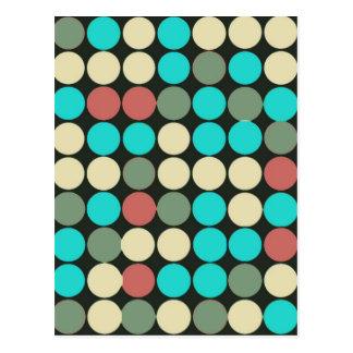 Retro Vintage Multicolored Circles Pattern Postcard