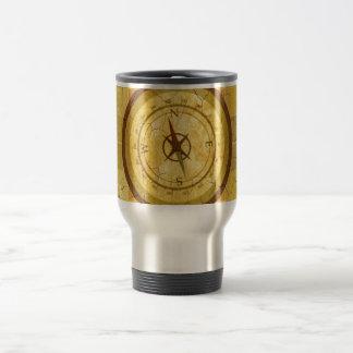 Retro Vintage Multicolored Compass Design Stainless Steel Travel Mug