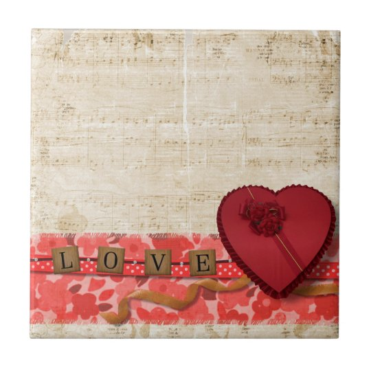 Retro Vintage Music Note Sheet Art Small Square Tile