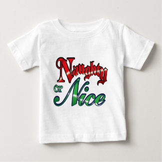 Retro Vintage Naughty or Nice Christmas Holiday Baby T-Shirt