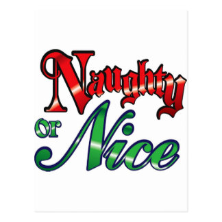 Retro Vintage Naughty or Nice Christmas Holiday Post Cards