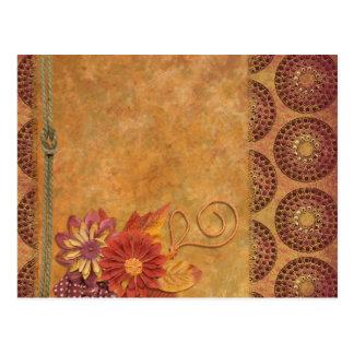 Retro Vintage Ornamental Floral Paper Art Postcard