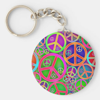 Retro Vintage Peace Heart Basic Round Button Key Ring