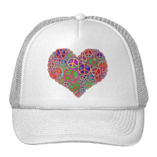Retro Vintage Peace Heart Hat