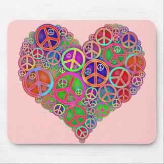 Retro Vintage Peace Heart Mouse Mat