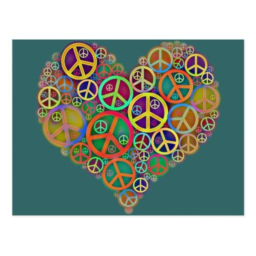 Retro Vintage Peace Heart Post Cards