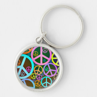 Retro Vintage Peace Signs Silver-Colored Round Key Ring