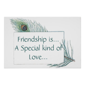 Retro Vintage Peacock Feather Friendship Quote Poster