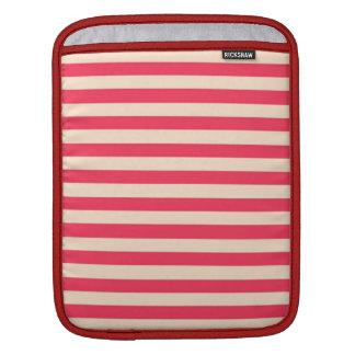 Retro Vintage Pink White Stripes Design iPad Sleeves