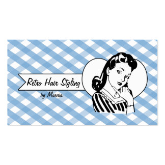 retro vintage pinup girl hair stylist gingham business card template