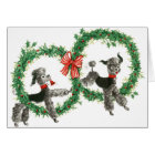Retro Vintage Poodles in Wreaths Design Card