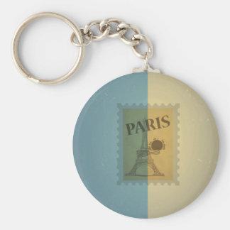 Retro Vintage Postage Paris Pattern Keychains