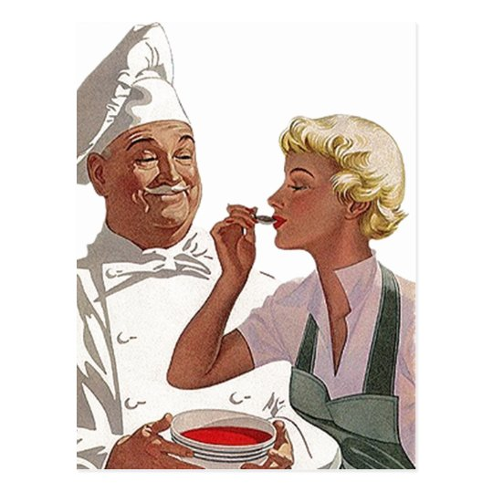Retro Vintage Postcard Chef Cooking Cook Try Soup