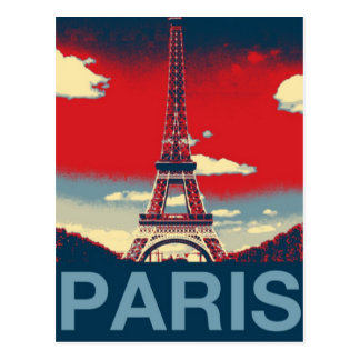 retro vintage red blue Paris Effiel Tower fashion Postcard
