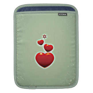Retro Vintage Red Hearts On Green Background Sleeve For iPads