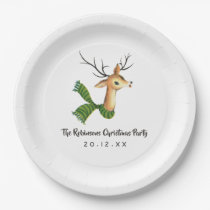 Retro Vintage Reindeer Christmas Party Paper Plate