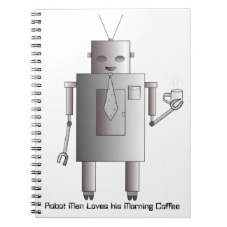 Retro Vintage Robot Drinking Coffee Illustration Note Book
