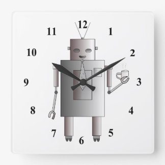 Retro Vintage Robot Drinking Coffee Illustration Square Wall Clock