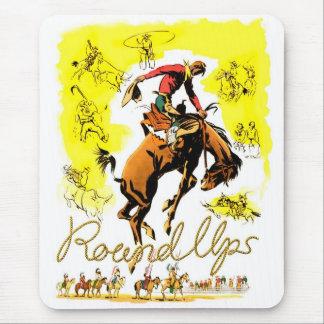 Retro Vintage Rodeo Cowboy Roundup Mouse Mat