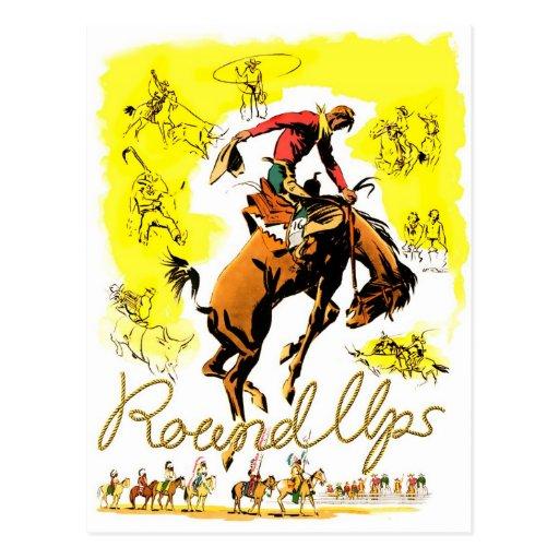 Retro Vintage Rodeo Cowboy Roundup Post Cards