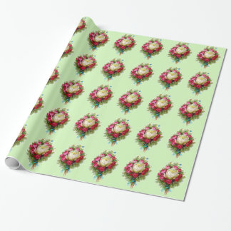 Retro Vintage Rose Bouquet Green Wrapping Paper