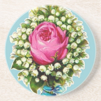 Retro Vintage Rose Floral Bouquet Coaster