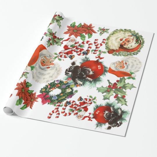 Retro Vintage Santa Claus Holiday Wrapping Paper
