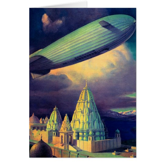 Retro Vintage Sci Fi Blimp Over Cambodia Card