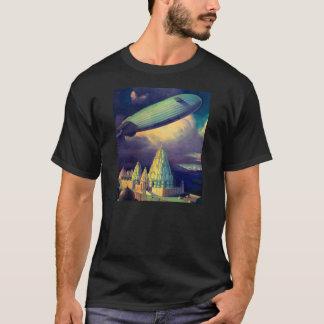 Retro Vintage Sci Fi Blimp Over Cambodia T-Shirt