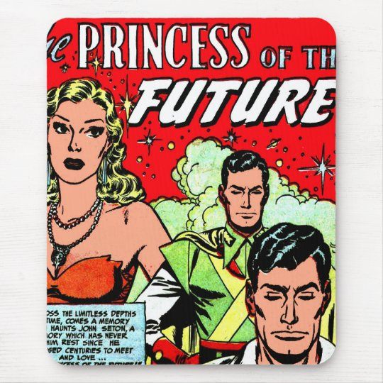 Retro Vintage Sci Fi Comic Princess of the Future Mouse Mat