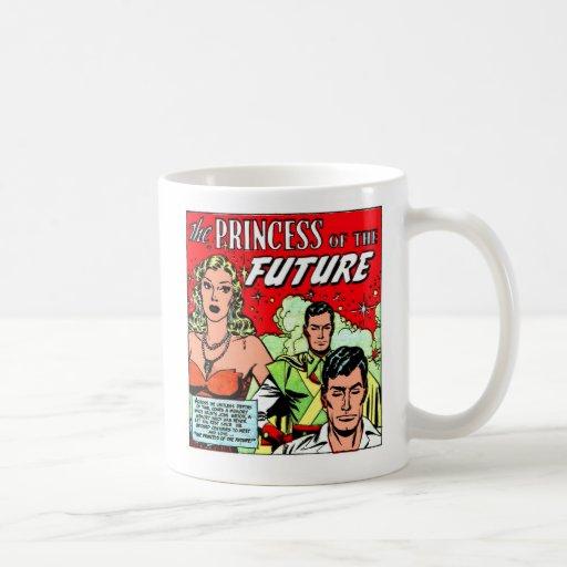 Retro Vintage Sci Fi Comic Princess of the Future Mugs