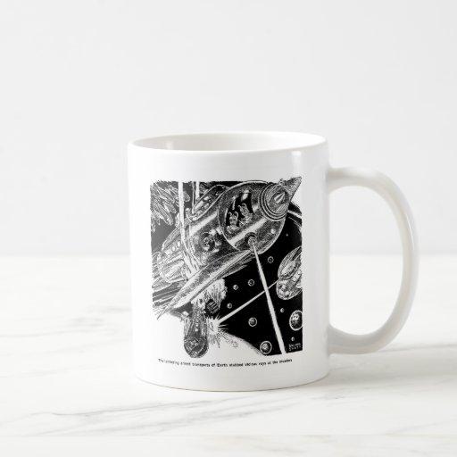 Retro Vintage Sci Fi Earth Transport attack Alien Mug