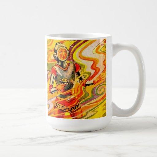 Retro Vintage Sci Fi Kitsch Space Girl Basic White Mug
