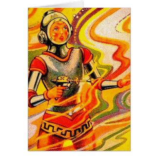 Retro Vintage Sci Fi Kitsch Space Girl Card