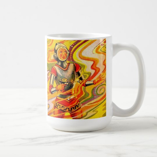 Retro Vintage Sci Fi Kitsch Space Girl Coffee Mug