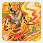 Retro Vintage Sci Fi Kitsch Space Girl Round Sticker