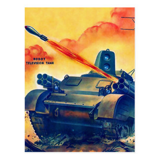 Retro Vintage Sci Fi Military TV Remote Tank Postcard
