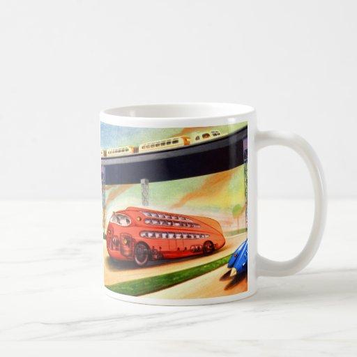 Retro Vintage Sci Fi Nazi German Bus of Future Coffee Mugs