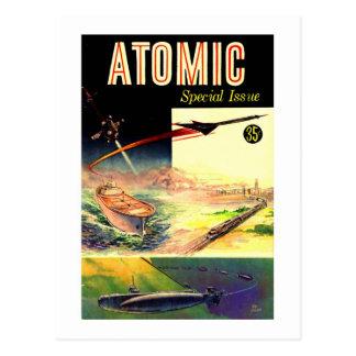 Retro Vintage Sci Fi Nuclear Atomic 60's Magazine Postcard