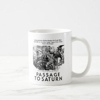 Retro Vintage Sci Fi 'Passage To Saturn' Story Art Basic White Mug