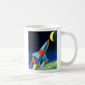 Retro Vintage Sci Fi 'Space Rocket to the Moon' Basic White Mug