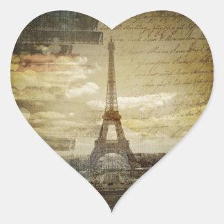 retro vintage scripts  paris Effiel Tower fashion Heart Sticker