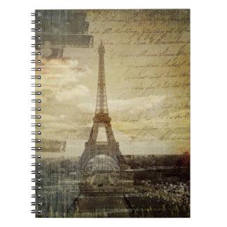 retro vintage scripts paris Effiel Tower fashion Spiral Notebook