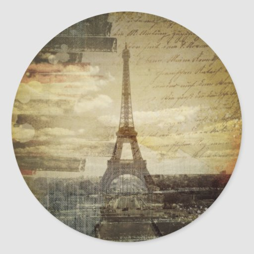 retro vintage scripts  paris Effiel Tower fashion Round Stickers