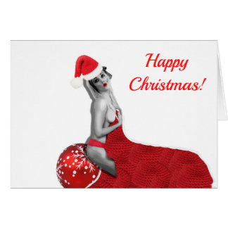 Retro Vintage Sexy Pinup Girl Art Christmas Card